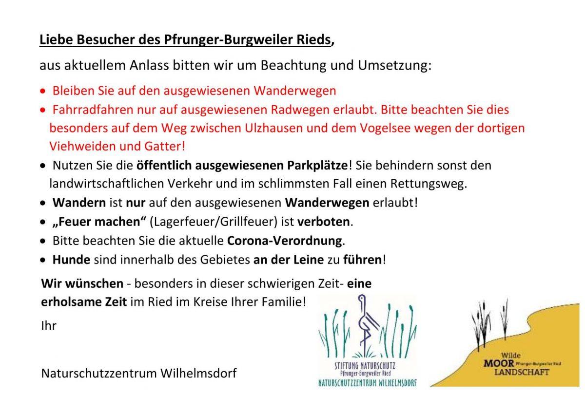 aktuelle Hinweise Pfrunger-Burgweiler Ried