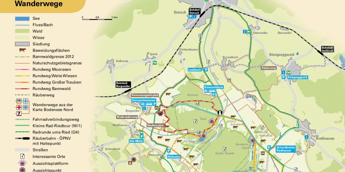 Wanderkarte Pfrunger-Burgweiler Ried 2021